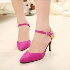 Latest New Item Fashion Popular Sharp Toe Color Block Thin Heels One-buckle Sandals