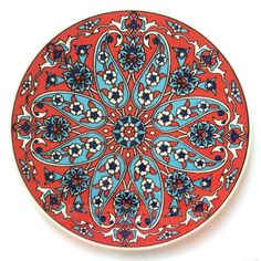 Red Ceramic Trivet Iznik design