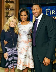 First Lady Michelle Obama stops by for an appearance on LIVE with Kelly and Michael at the ABC Studios in New York City.