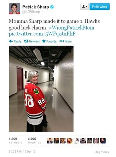 A Blackhawks mom was in attendance for Game 1, but her jersey wasn't her son's. #WrongPatrickMom