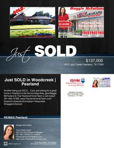 Just Sold in Woodcreek | Pearland  Another listing just sold @ 1912 Lazy Creek in Woodcreek! Congratulations to my seller and who worked very hard to get this home cleared and cleaned out!  If you are interested in buying/selling/leasing in Pearland or the surrounding area give us a call @ 281-485-HOME #justsold   #godbless   #pearland   #inthedeepheartofpearland   #pearlandlistings   #maggiemcfarland   #woodcreek   #woodcreek  http://listings.realbird.com/S8O5V8L9/373892.aspx