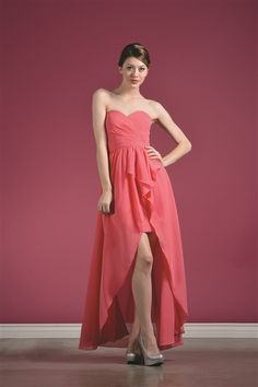 This High-Low Sweetheart-Cut Dress has elegant Gathered Layers and is a beautiful fit for many figures. From a bridesmaid dress to a prom 2014 dress. #HighLowDress #HiLoDress www.marlasfashions.com