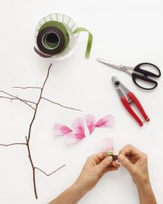 Floral designer Livia Cetti, author of The Exquisite Book of Paper Flowers, shares how to make a charming branch of paper cherry blossoms.