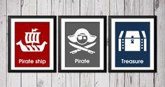 Estampes nautique, pirate bateau pirate Trésor, pirates mur nautique, 3 8 x 10, Kids décor, pépinière de bébé, typographie