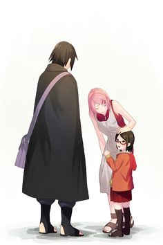 black_hair eyes_closed family father_and_daughter glasses haruno_sakura highres husband_and_wife mother_and_daughter multiple_girls naruto naruto:_the_last pink_hair red-framed_glasses short_hair uchiha_sarada uchiha_sasuke Naruhina, Naruto Uzumaki, Anime Naruto, Tenten Y Neji, Sasuke Sakura Sarada, Naruto Sasuke Sakura, Naruto Comic, Sasunaru, Otaku