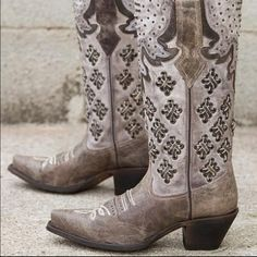 """Corral Boots Corral boots. Studded leather western boot with 12"""" shaft, snip toe. 2 1/2"""" heel & lightly cushioned insole. Color is called LD Brown. Purchased at Buckle. Worn one time. Corral Shoes"""