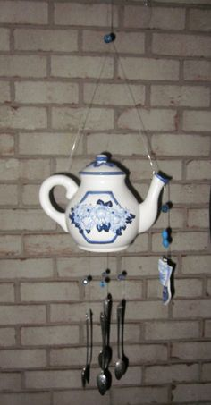 Fancy Shabby country blue Rose Teapot Outdoor/wind
