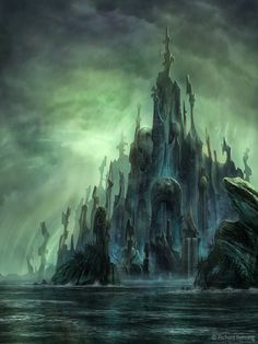 """A digital concept painting heavily influenced by the short story """"The Call of Cthulhu"""" by H. The underwater city of R'lyeh. Fantasy Art Landscapes, Fantasy Landscape, Fantasy Artwork, Landscape Art, Call Of Cthulhu, Hp Lovecraft, Lovecraft Cthulhu, Fantasy Places, Fantasy World"""