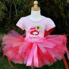 Girls Strawberry Shortcake Number Hat Birthday Tutu Set