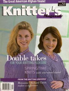 Knitters Magazine Issue 46 Spring 1997 Twin Sets Mother Daughter Lace Pinafore Fair Isle 96 pages * Double Takes for Your Knitting Pleasure * Springtime Knits with Year-Round Appeal * The Great American Afghan Finale – traditional twinsets, mother-and-daughter duos, variations of a single design, using lighter/heavier weight yarns, different colorways, or cardigan/vest styles. #KnittersMagazine #KnittingMagazine