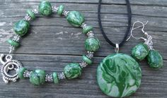 Unique 3 piece Green Pearl Polymer Clay Jewelry by clayandbeads4me, $35.00