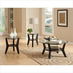 Standard Furniture Orbit Round Black Wood With Gl Top 3 Piece Coffee Table Set