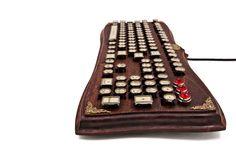 The Diviner Keyboard Datamancer Wooden by DatamancerLabs on Etsy Victorian Era, Victorian Fashion, Steampunk Keyboard, Macbook Keyboard Stickers, Old Fashioned Typewriter, Typewriter Keys, Red Jewel, Vintage Typewriters, Computer Accessories