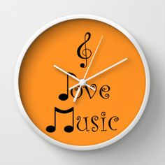 I Love Music - Tangerine Tango Wall Clock #music #wallclock #walldecor #clocks #society6