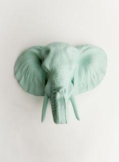 El Sydney elefante falso cabeza de pared Decor Seafoam