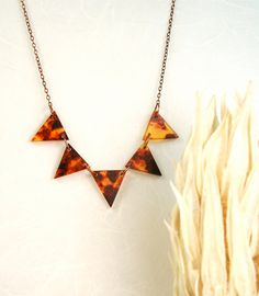 Tortoise Shell Geometric Modern Necklace by ThePolkadotMagpie, $48.00, via :etsy.com: