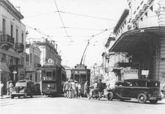 Athens, - Trams at Omonia Square Greece Pictures, Old Pictures, Old Photos, Athens History, Greece History, Travel Around The World, Around The Worlds, Old Greek, City People
