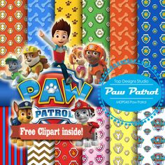 "Paw Patrol Digital Paper: ""PAW PATROL DIGITAL Paper""-Paw Patrol ClipArt, Paw Patrol Scrapbook Paper,Chase Skye Ryder Rubble Marshall Clipart         August 29, 2015 at 05:22AM"