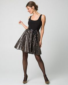 Sequin & Knit Fit & Flare Cocktail Dress - All over sequins and a full skirt turns this cocktail dress into a dramatic and playful style. Party Gowns, Party Dress, Fit And Flare Cocktail Dress, Simply Fashion, Beautiful Dresses, Style Me, Sequins, Knitting, Formal