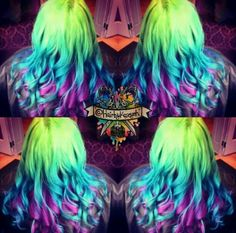 Neon green purple ombre dyed hair
