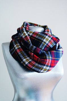 Handmade Tartan Infinity Scarf  Wool  Yellow Red Navy Blue by Urbe, $24.90