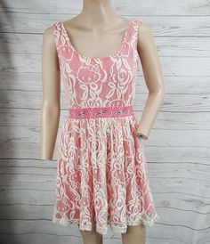 1a419ba0d Sanrio Hello Kitty Antique white lace overlay pink fit flare skater dress  jrs M #HelloKitty