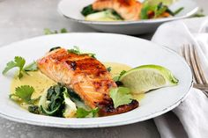Sugar Seared Salmon with Coconut Lime Sauce - Seasons and Suppers Lemon Curd Pavlova, Peach Bread Puddings, Picnic Sandwiches, Iron Skillet Recipes, Salmon Dishes, Seafood Dishes, Coconut Sauce, Grilled Salmon, Easy Weeknight Meals