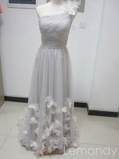 silver+one+shoulder+A+line+tulle+evening+by+Lemandyweddingdress,+$275.00