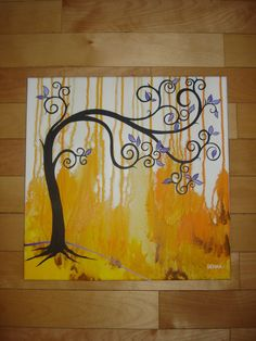 abstract tree/background. by SELLAH... students would like dripping watercolor in background