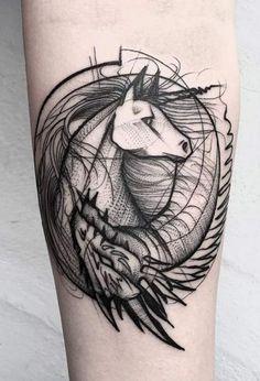 Unicorn Sketch Style Tattoo by Frank Carrilho