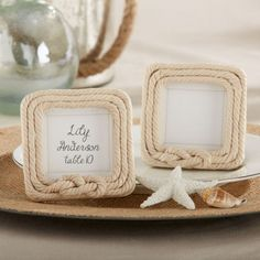 Rope Place Card Holder/Photo Frame by Beau-coup Wedding Favours Bridesmaids, Beach Wedding Favors, Nautical Wedding, Bridal Shower Favors, Trendy Wedding, Nautical Rope, Nautical Theme, Party Favors, 2017 Wedding
