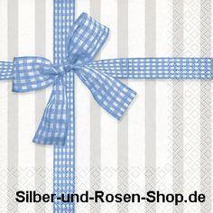 Papierserviette hellblaues Vichy-Karo als Schleife auf grau-weißen Streifen