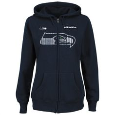 Majestic Seattle Seahawks Ladies Navy Blue www.teelieturner.com Buttonhook Hooded Sweatshirt Get the perfect look to let everyone know who you cheer for in this Buttonhook hooded sweatshirt! Deck yourself out in old-school cool while giving some love for your boys on the gridiron with this classic Seattle Seahawks hoodie from your friends at Majestic, one of the premier names in fashionable officially-licensed team apparel!  $49.95 #football