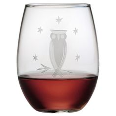 Stemless wine glass with sand-etched and hand-cut owl details. Made in the USA.   Product: Set of 4 stemless wine glasses