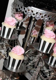 Beautiful cupcakes at a Coco Chanel birthday party! See more party planning ideas at CatchMyParty.com!