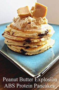 Peanut Butter Lovers this recipe is for you! Guilt Free ABS Protein Pancakes with Chocolate chips and natural peanut butter for 480 calories and over 30g protein!   ABSPancakes.com