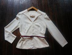 vintage cream off white cardigan belt 1970 1980 70s 80s