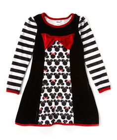 Love this Black Mickey & Minnie Mouse Long-Sleeve Dress - Girls by Mickey Mouse & Minnie Mouse on #zulily! #zulilyfinds
