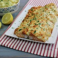 Cheezy baked Salmon- I just made this tonight and couldn't wait to repost it because it was AMAZING! -Natalie
