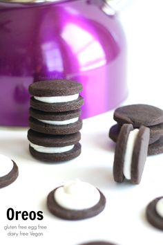 Gluten free vegan Oreos are copy cat cookie turned allergy friendly- dairy free, egg free and soy free. A chocolate cookie classic dessert!