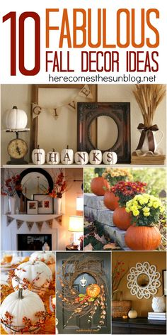 Fabulous Fall Decor Ideas Transform your home into a warm inviting space with these 10 fabulous fall decor ideas.Transform your home into a warm inviting space with these 10 fabulous fall decor ideas. Fall Home Decor, Autumn Home, Thanksgiving Decorations, Seasonal Decor, Thanksgiving Ideas, Harvest Decorations, Thanksgiving Parties, Holiday Decorations, Table Decorations