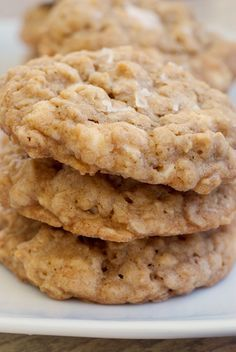 Salted Vanilla Chip Oatmeal Cookies. A little sweet, a little salty. Perfect combination.