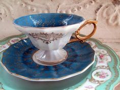 Vintage Teacup Tea Cup and Saucer Turquoise Blue