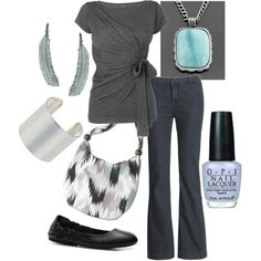 grey and blue casual outfit with DIY tee shirt