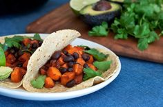 Baking is great but sauteed sweet potatoes make a perfect, hearty filling for a taco when you want a quick and easy meat-free meal. These tacos are chock-full of fiber and protein and are perfect f...