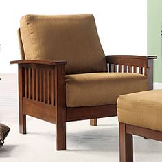 @Overstock - This Hills Mission-style chair is featured in a soft and stylish microfiber fabric. The chair also features a comfortable inner spring seat cushion.http://www.overstock.com/Home-Garden/Hills-Mission-style-Oak-and-Rust-Chair/3911908/product.html?CID=214117 $175.49