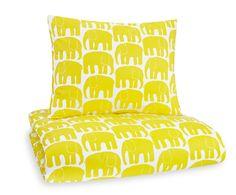 Children's retro bedding - Yellow Elefantti (Elephant) - Designed by Laina Koskela for Finlayson in 1969 - Via Scandinavian Deko