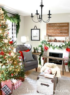 Christmas Interiors neutral + pops of red for a farmhouse christmas. interior design