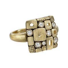 "Alex Sepkus ""Little Windows"" 18k Gold & Diamond Dome Ring"