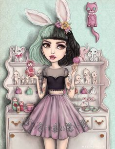 Melanie 9.5 x 11'' Limited Edition Fine Art Print by melmacklin- Inspired by Melanie Martinez, Kitsch, Vintage Toys, Kewpies, Dolls, Cake and Babushkas